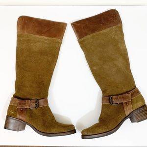 Matisse suede knee high brown buckle boots